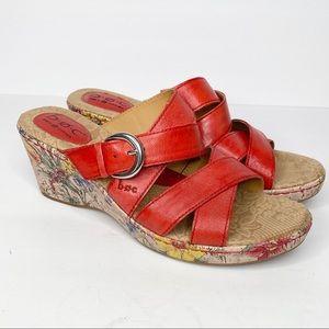 BOC Born Concept Red Slide Wedge Sandals